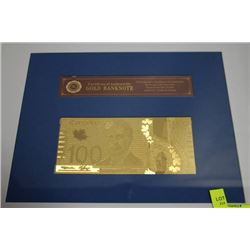 GOLD $100 CANADIAN BANKNOTE