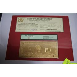 GOLD AMERICAN $2 BANKNOTE