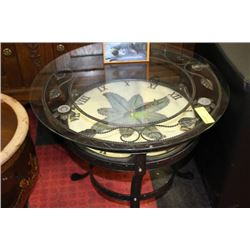 NEW METAL AND GLASS OUTDOOR CLOCK TABLE