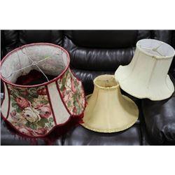 THREE VINTAGE LAMP SHADES