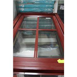 26 1/8 X 37 7/8 - RED FRAMED WINDOW