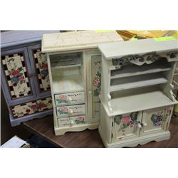 WOOD PAINTED JEWELLERY BOX X3