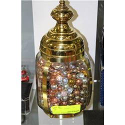 GLASS AND BRASS JAR W MARBLES