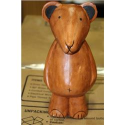 WOOD CARVED BEAR ORNAMENT