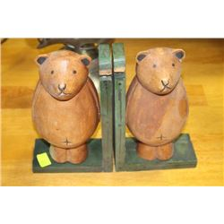 PAIR OF WOOD CARVED BEAR BOOK ENDS