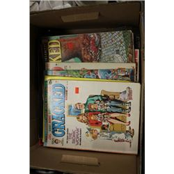 BOX OF CRACKED/MAD MAGAZINES AND ASST ROCK ALBUMS