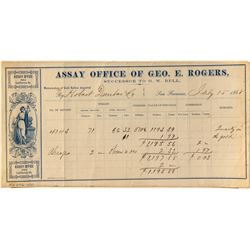 George Rogers early California Assay receipt