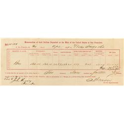 Memorandum of Gold Bullion from the US Mint in San Francisco