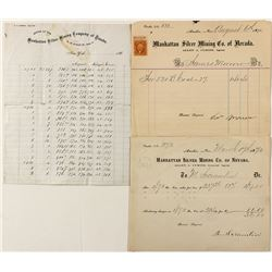 Manhattan Silver Mining Co.: Assay Sheet, Ore Receipt, and BIllhead