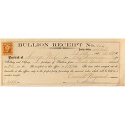 Rare Conrad Wiegand Bullion Receipt, Gold Hill Assay Office