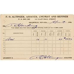 F. O. Altinger, assayer report