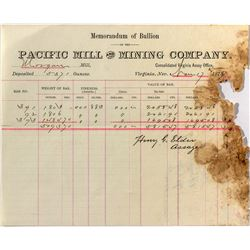 Pacific Mill and Mining Co. Memorandum of Assay