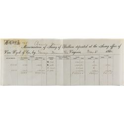 Van Wyck & Co. Assay Sheet