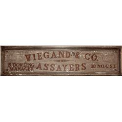 Original Wiegand & Co. Assayer Sign