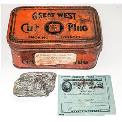 Tobacco Tin with Wells Fargo Label and Ore Specimen