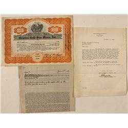Oriental Gold Star Mines Stock and letter