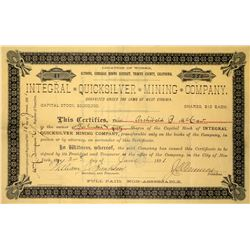 Integral Quicksilver Mining Company Stock Certificate, 1891