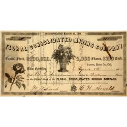 Floral Consolidated Mining Co. Stock Certificate, Aurora, 1863