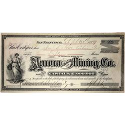 Aurora Tunnel and Mining Co. Stock Certificate