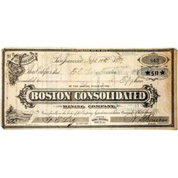 Boston Consolidated Mining Co. Stock Certificate