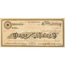 Tioga Cons. Mining Co. Stock Certificate
