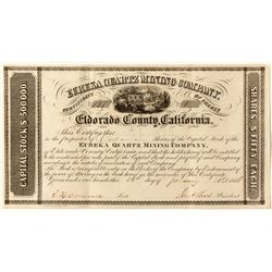 Gold Rush Era Eureka Quartz Mining Stock Certificate