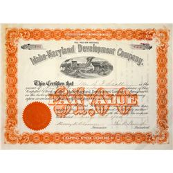 Idaho Maryland Development Group Stock Certificate, 1904