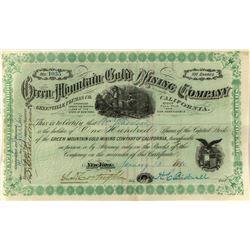 Green Mountain Gold Mining Stock, Greenville, Plumas County, Cal.
