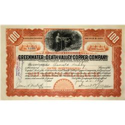 Greenwater and Death Valley Copper Co. Stock Certificate, 1907