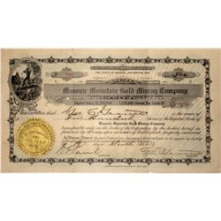 Masonic Mountain Gold Mining Company Stock Certificate, 1913