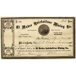 El Madre Quicksilver Mining Co. Stock Certificate
