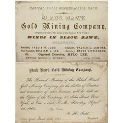 Card Announcing Meeting for Black Hawk Gold Mining Co.