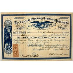 The American Exploring Company of Philadelphia Stock Certificate