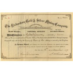 Richardson Gold & Silver Mining Company Stock 1879