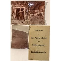 Accord Mining and Milling Co. Prospectus  and Photographs