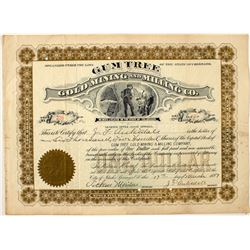 Gum Tree Gold Mining and Milling Co. stock certificate