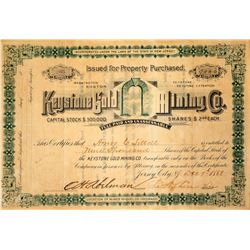 Keystone Gold Mining Co. Stock Certificate, 1888