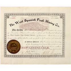 The West Spanish Peak Mining Company stock certificate