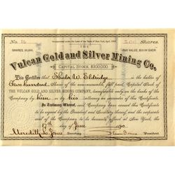 Vulcan Gold & Silver Mining Company Stock 1880