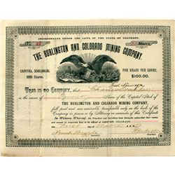 Burlington and Colorado Mining Company stock certificate