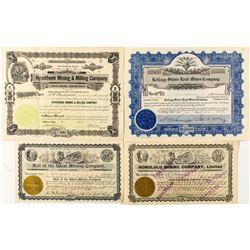 Four Idaho Mining Stock Certificates