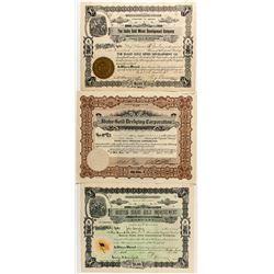 Three Idaho Gold Mining Stock Certificates