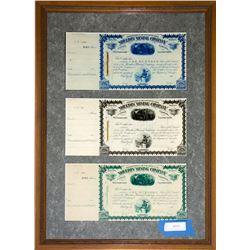 Framed William A. Clark Autographs on Mining Stocks