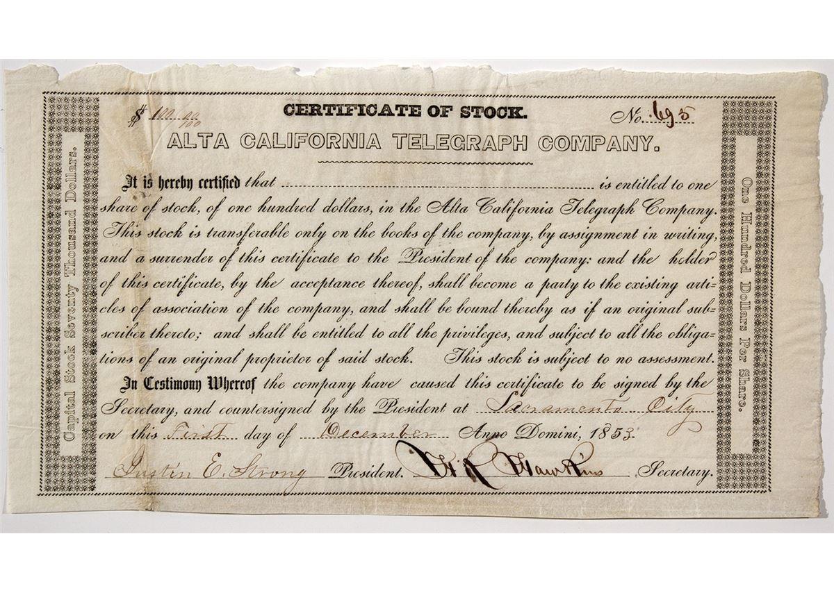 certificate alta telegraph california