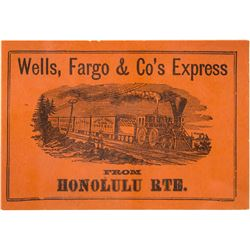 Wells, Fargo & Co.'s Express Adhesive Label for Honolulu Route