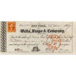 Wells, Fargo & Co. Check Signed by First President