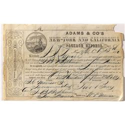 Rare Adams & Co's New-York and California Package Express Receipt