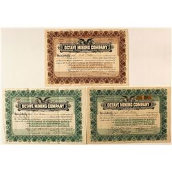 Octave Mining Company Stock Certificates