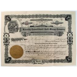Stock Certificate- Kennedy Consolidated Gold Mining Company