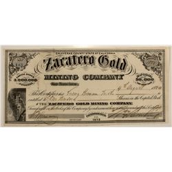 Zacatero Gold Mining Co. Stock Certificate